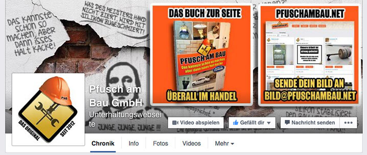 Pfusch am Bau GmbH - Screenshot Facebookseite